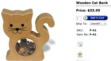TAG Toys Wooden Cat Bank